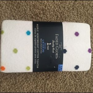 White with multicolored polka dots tights